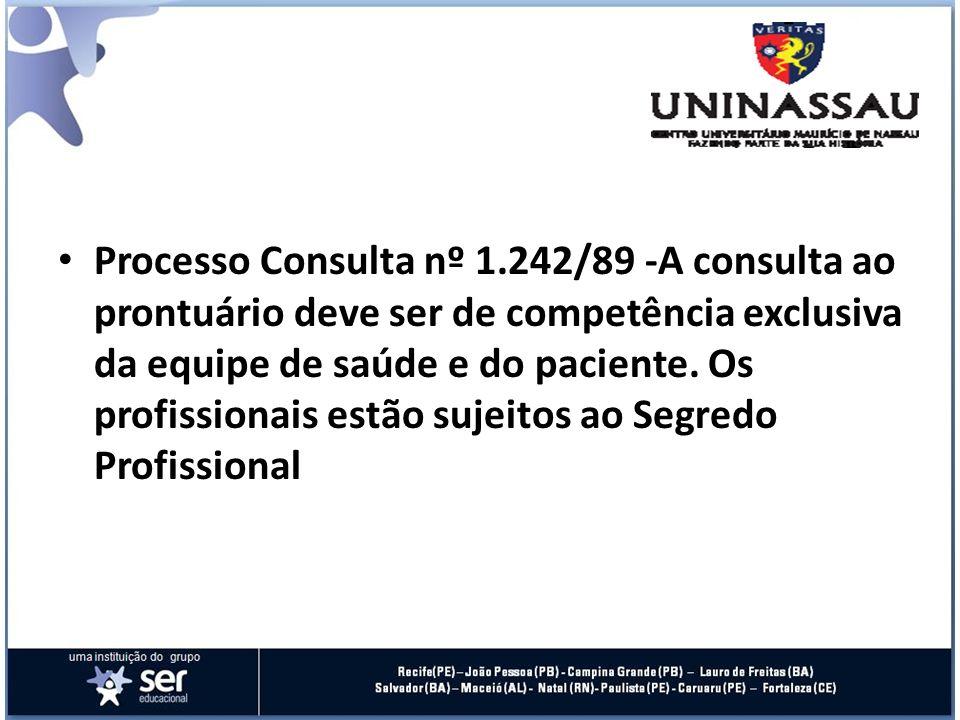 Processo Consulta nº 1.242/89 -A consulta ao prontuário deve ser de competência exclusiva da equipe de saúde e do paciente. Os profissionais estão suj