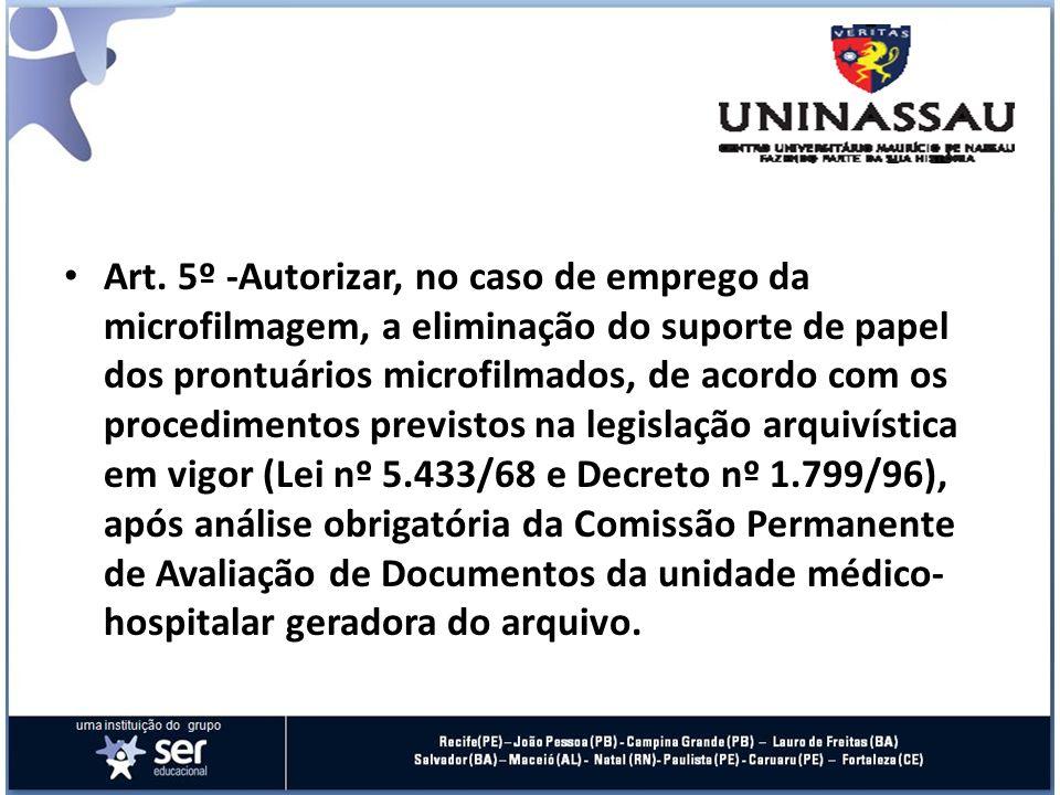 Art. 5º -Autorizar, no caso de emprego da microfilmagem, a eliminação do suporte de papel dos prontuários microfilmados, de acordo com os procedimento