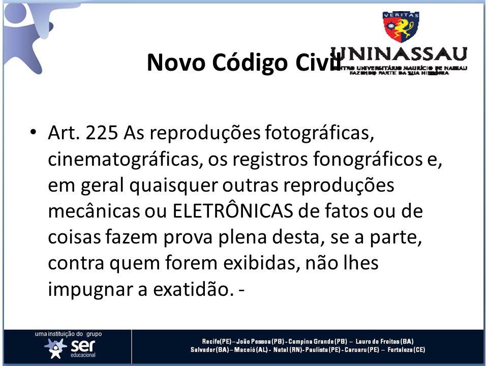 Novo Código Civil Art. 225 As reproduções fotográficas, cinematográficas, os registros fonográficos e, em geral quaisquer outras reproduções mecânicas