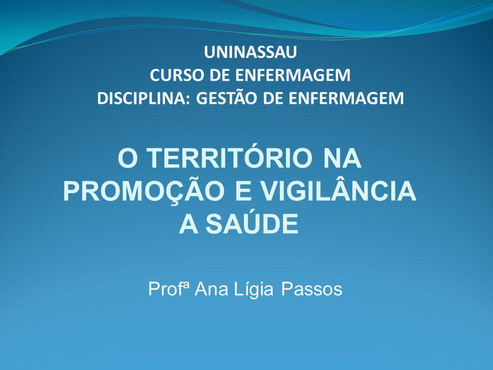 Profª Ana Lígia Passos UNINASSAU CURSO DE ENFERMAGEM DISCIPLINA: GESTÃO DE ENFERMAGEM O TERRITÓRIO NA PROMOÇÃO E VIGILÂNCIA A SAÚDE