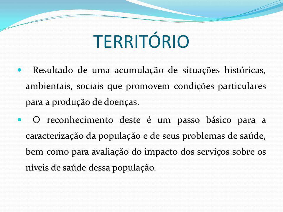 TERRITÓRIO Resultado de uma acumulação de situações históricas, ambientais, sociais que promovem condições particulares para a produção de doenças. O