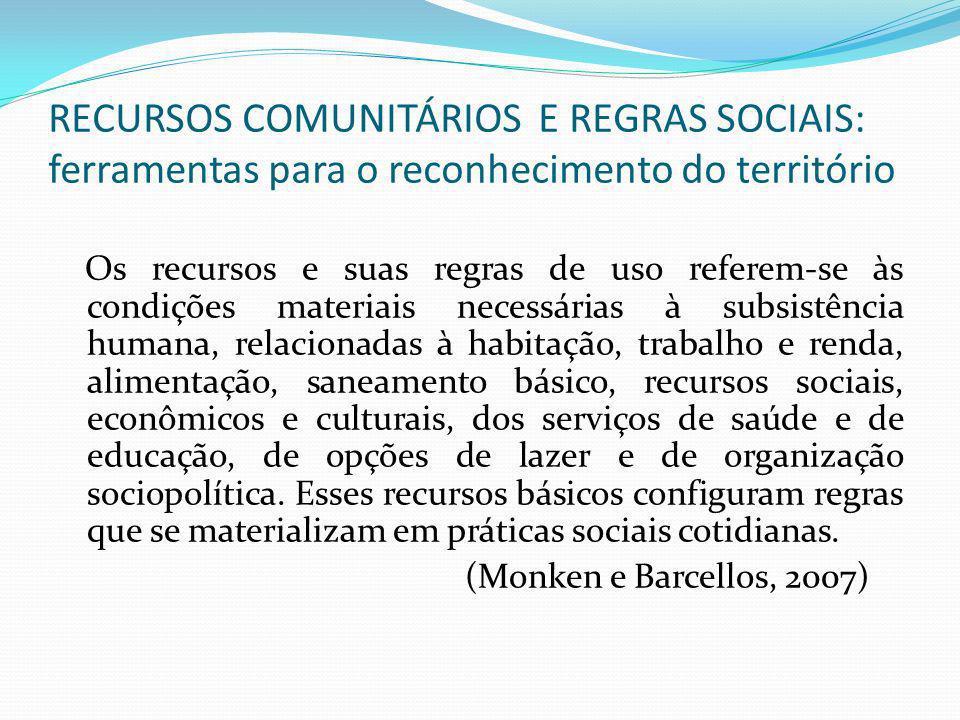 RECURSOS COMUNITÁRIOS E REGRAS SOCIAIS: ferramentas para o reconhecimento do território Os recursos e suas regras de uso referem-se às condições mater