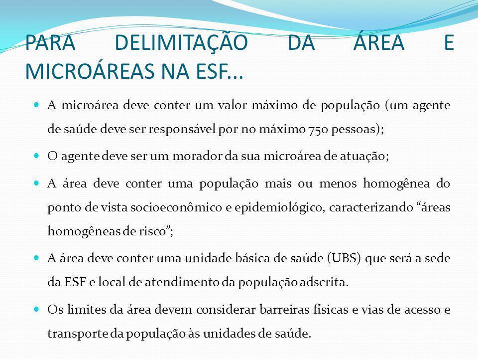 PARA DELIMITAÇÃO DA ÁREA E MICROÁREAS NA ESF... A microárea deve conter um valor máximo de população (um agente de saúde deve ser responsável por no m