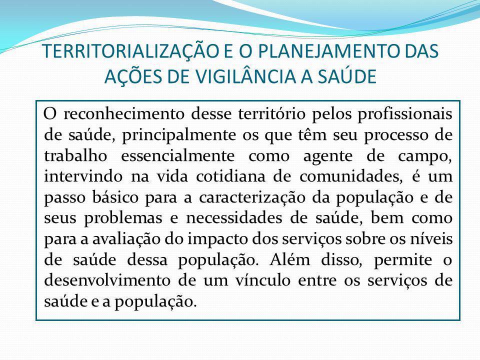 TERRITORIALIZAÇÃO E O PLANEJAMENTO DAS AÇÕES DE VIGILÂNCIA A SAÚDE O reconhecimento desse território pelos profissionais de saúde, principalmente os q