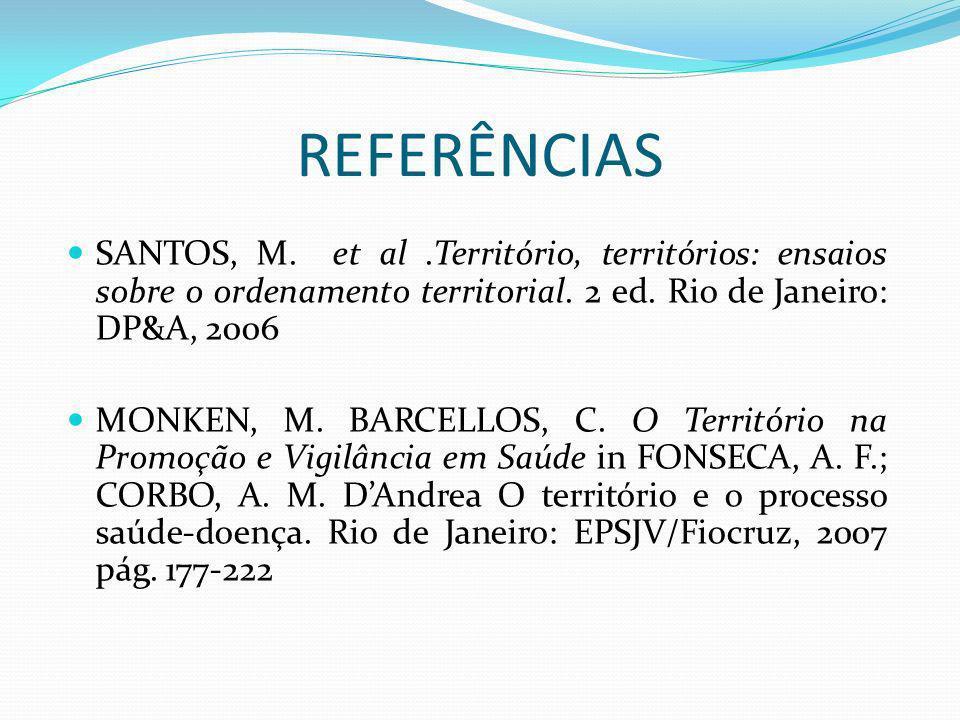 REFERÊNCIAS SANTOS, M. et al.Território, territórios: ensaios sobre o ordenamento territorial. 2 ed. Rio de Janeiro: DP&A, 2006 MONKEN, M. BARCELLOS,