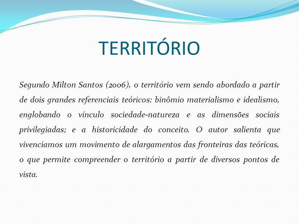 TERRITÓRIO Segundo Milton Santos (2006), o território vem sendo abordado a partir de dois grandes referenciais teóricos: binômio materialismo e ideali