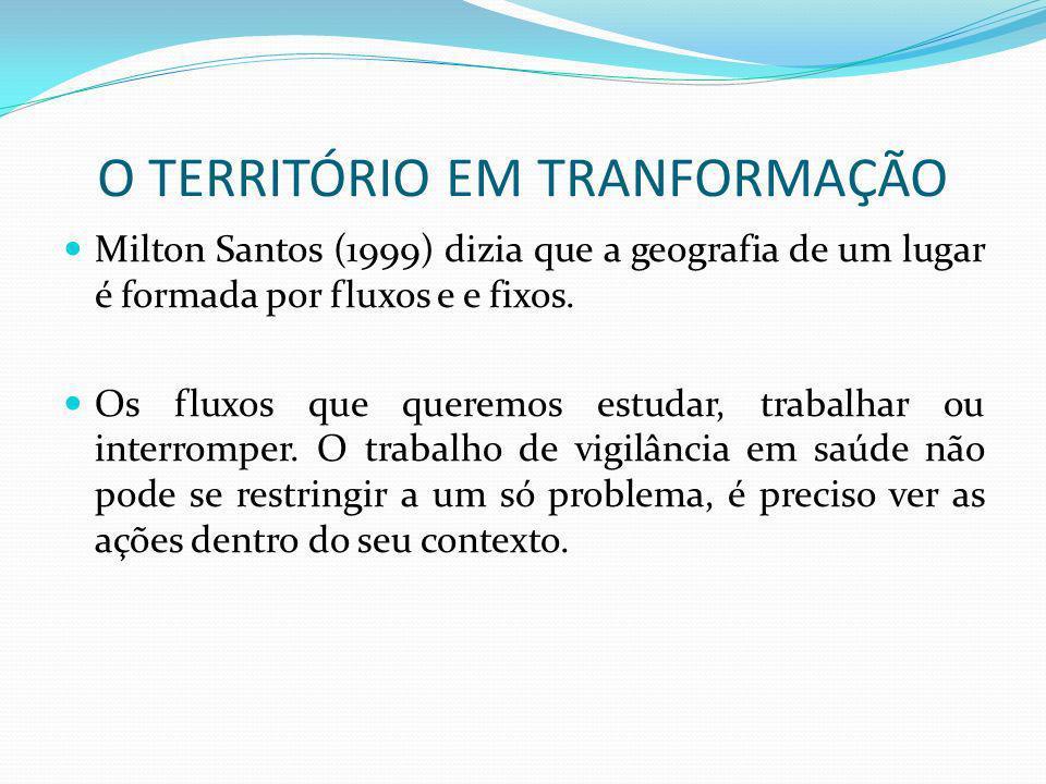 O TERRITÓRIO EM TRANFORMAÇÃO Milton Santos (1999) dizia que a geografia de um lugar é formada por fluxos e e fixos. Os fluxos que queremos estudar, tr