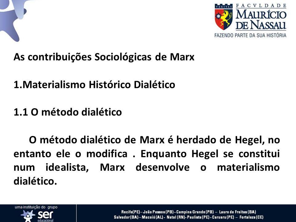 As contribuições Sociológicas de Marx 1.Materialismo Histórico Dialético 1.1 O método dialético O método dialético de Marx é herdado de Hegel, no enta
