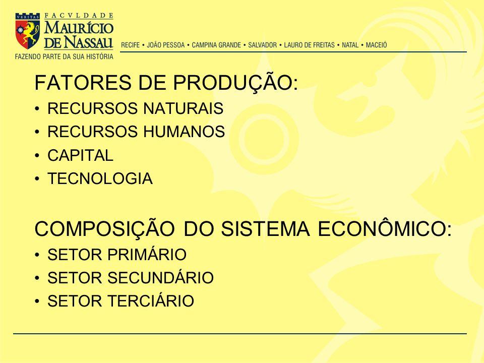 FATORES DE PRODUÇÃO: RECURSOS NATURAIS RECURSOS HUMANOS CAPITAL TECNOLOGIA COMPOSIÇÃO DO SISTEMA ECONÔMICO: SETOR PRIMÁRIO SETOR SECUNDÁRIO SETOR TERC