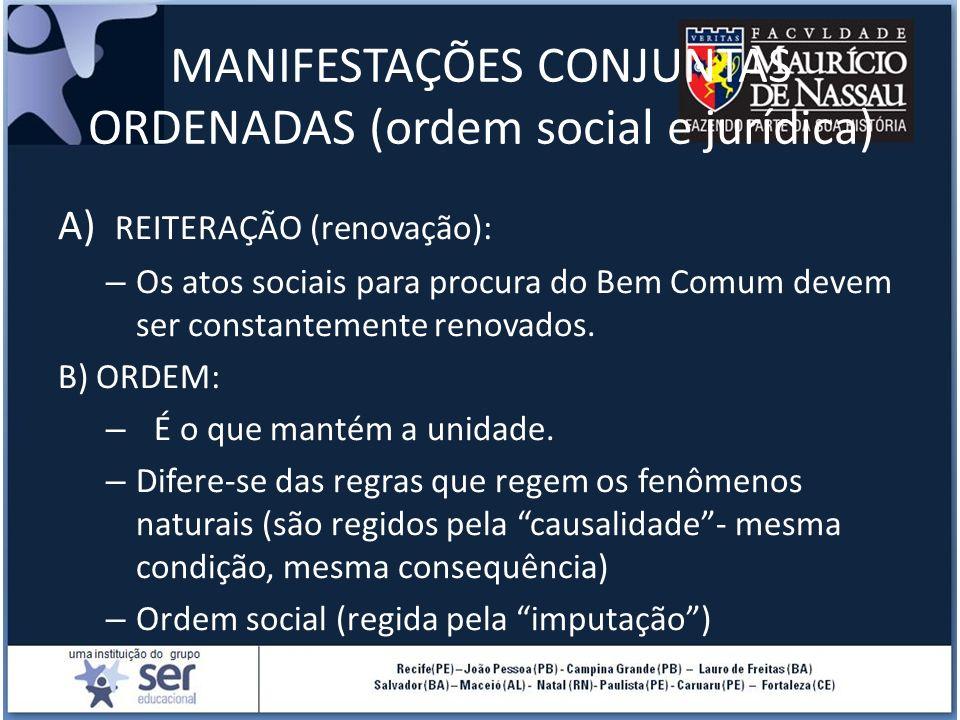 MANIFESTAÇÕES CONJUNTAS ORDENADAS (ordem social e jurídica) A) REITERAÇÃO (renovação): – Os atos sociais para procura do Bem Comum devem ser constante