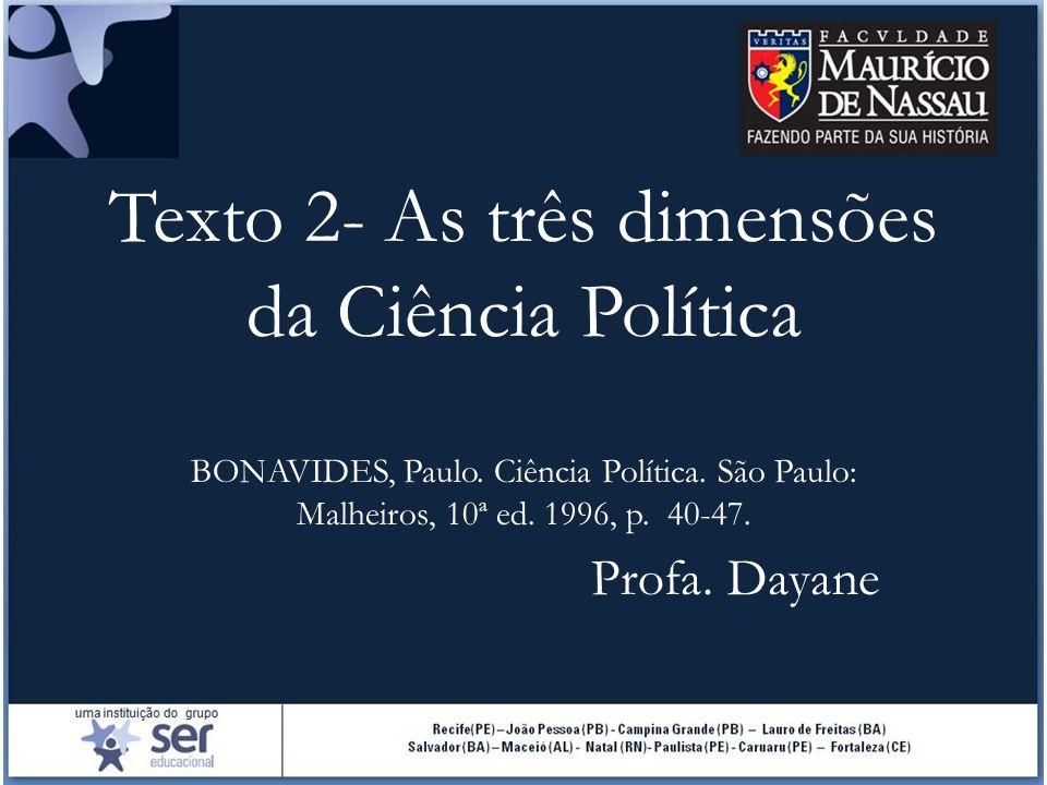 Texto 2- As três dimensões da Ciência Política BONAVIDES, Paulo. Ciência Política. São Paulo: Malheiros, 10ª ed. 1996, p. 40-47. Profa. Dayane