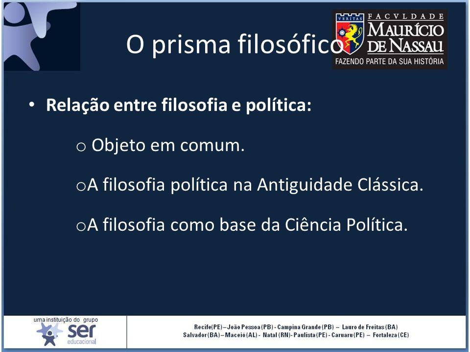 O prisma filosófico Relação entre filosofia e política: o Objeto em comum. o A filosofia política na Antiguidade Clássica. o A filosofia como base da