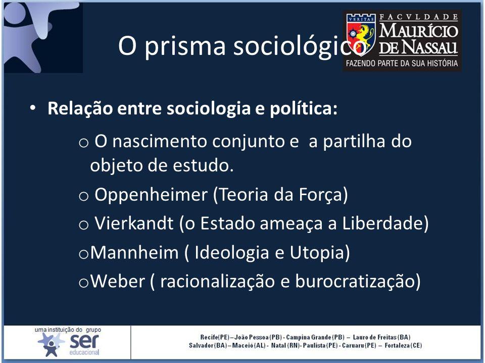 O prisma sociológico Relação entre sociologia e política: o O nascimento conjunto e a partilha do objeto de estudo. o Oppenheimer (Teoria da Força) o