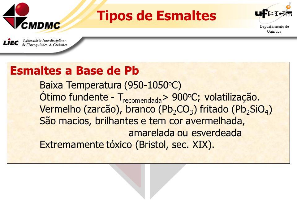 25 Departamento de Química Laboratório Interdisciplinar de Eletroquímica & Cerâmica Tipos de Esmaltes Esmaltes a Base de Pb Baixa Temperatura (950-1050 o C) Ótimo fundente - T recomendada > 900 o C; volatilização.