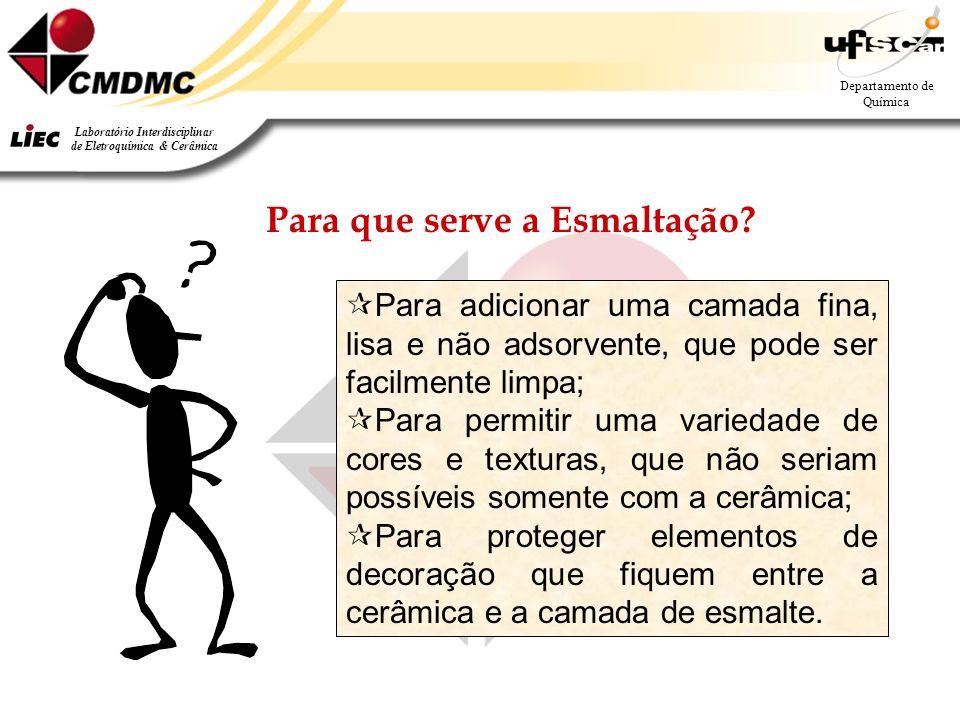 3 Departamento de Química Laboratório Interdisciplinar de Eletroquímica & Cerâmica Para que serve a Esmaltação.