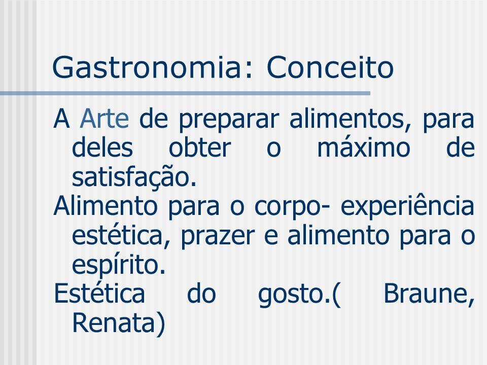 Gastronomia: Conceito A Arte de preparar alimentos, para deles obter o máximo de satisfação. Alimento para o corpo- experiência estética, prazer e ali