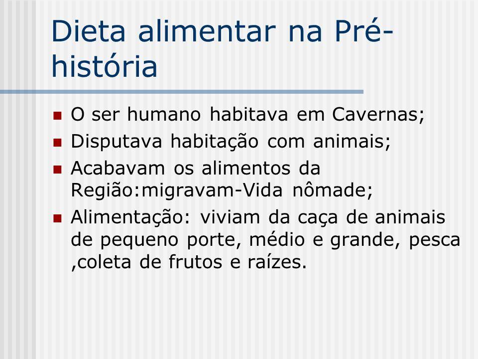 Dieta alimentar na Pré- história O ser humano habitava em Cavernas; Disputava habitação com animais; Acabavam os alimentos da Região:migravam-Vida nôm