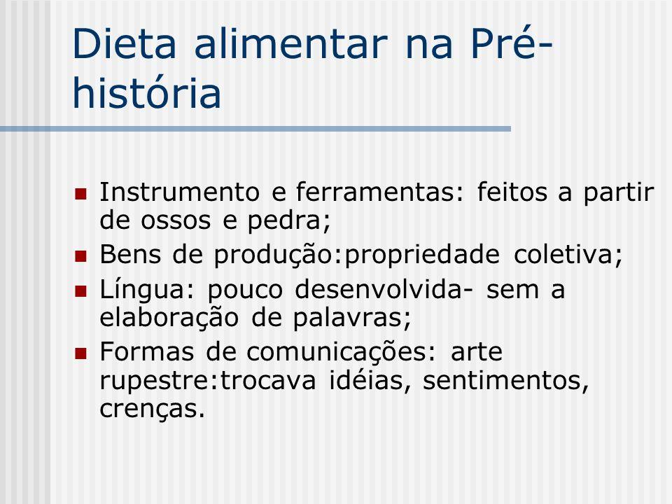 Dieta alimentar na Pré- história Instrumento e ferramentas: feitos a partir de ossos e pedra; Bens de produção:propriedade coletiva; Língua: pouco des