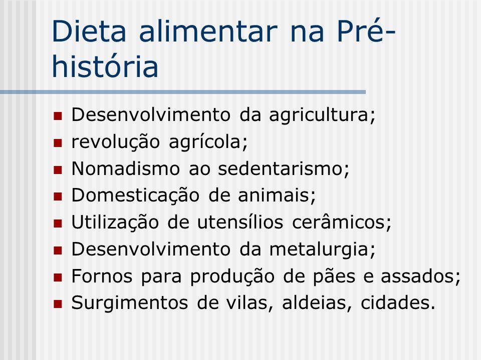 Dieta alimentar na Pré- história Desenvolvimento da agricultura; revolução agrícola; Nomadismo ao sedentarismo; Domesticação de animais; Utilização de
