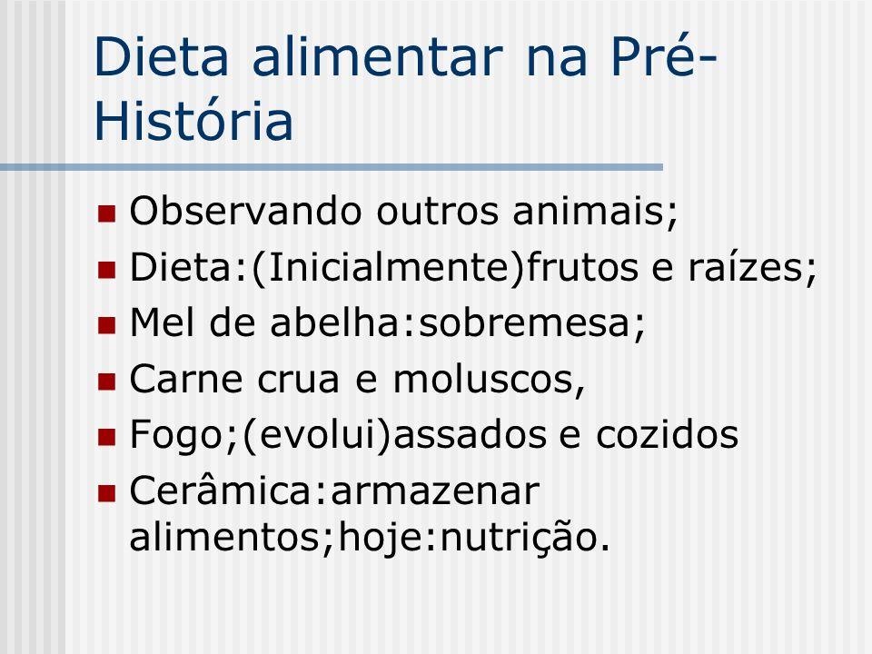 Dieta alimentar na Pré- História Observando outros animais; Dieta:(Inicialmente)frutos e raízes; Mel de abelha:sobremesa; Carne crua e moluscos, Fogo;