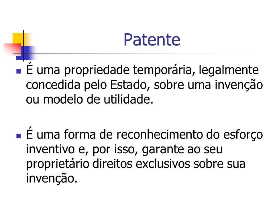 Patente É uma propriedade temporária, legalmente concedida pelo Estado, sobre uma invenção ou modelo de utilidade. É uma forma de reconhecimento do es