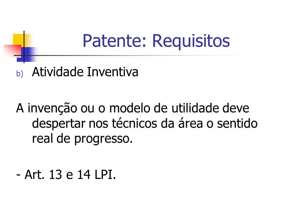 Patente: Requisitos b) Atividade Inventiva A invenção ou o modelo de utilidade deve despertar nos técnicos da área o sentido real de progresso. - Art.