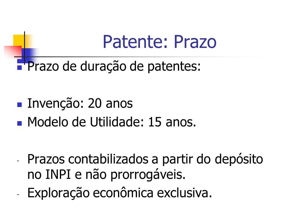 Patente: Prazo Prazo de duração de patentes: Invenção: 20 anos Modelo de Utilidade: 15 anos. - Prazos contabilizados a partir do depósito no INPI e nã