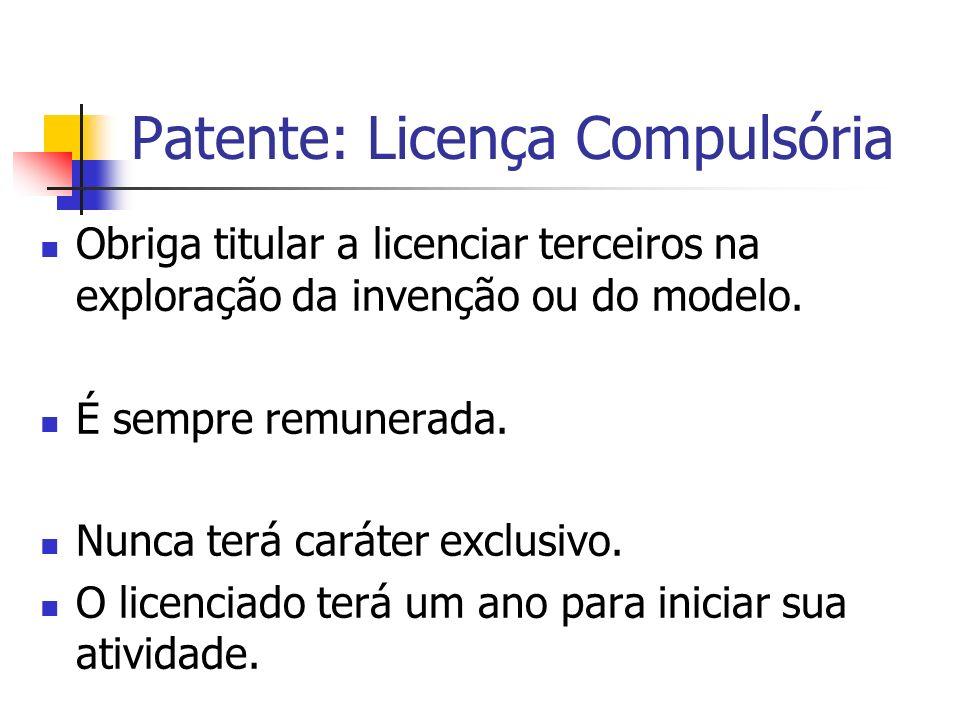 Patente: Licença Compulsória Obriga titular a licenciar terceiros na exploração da invenção ou do modelo. É sempre remunerada. Nunca terá caráter excl
