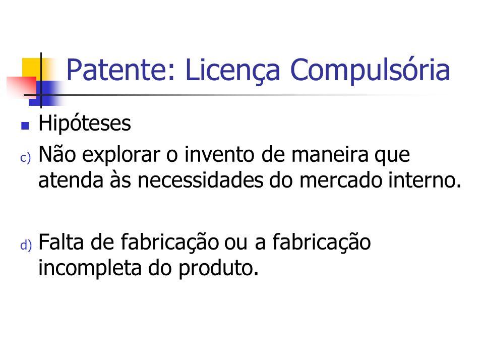 Patente: Licença Compulsória Hipóteses c) Não explorar o invento de maneira que atenda às necessidades do mercado interno. d) Falta de fabricação ou a