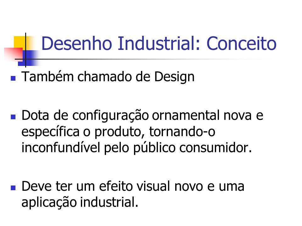 Desenho Industrial: Conceito Também chamado de Design Dota de configuração ornamental nova e específica o produto, tornando-o inconfundível pelo públi