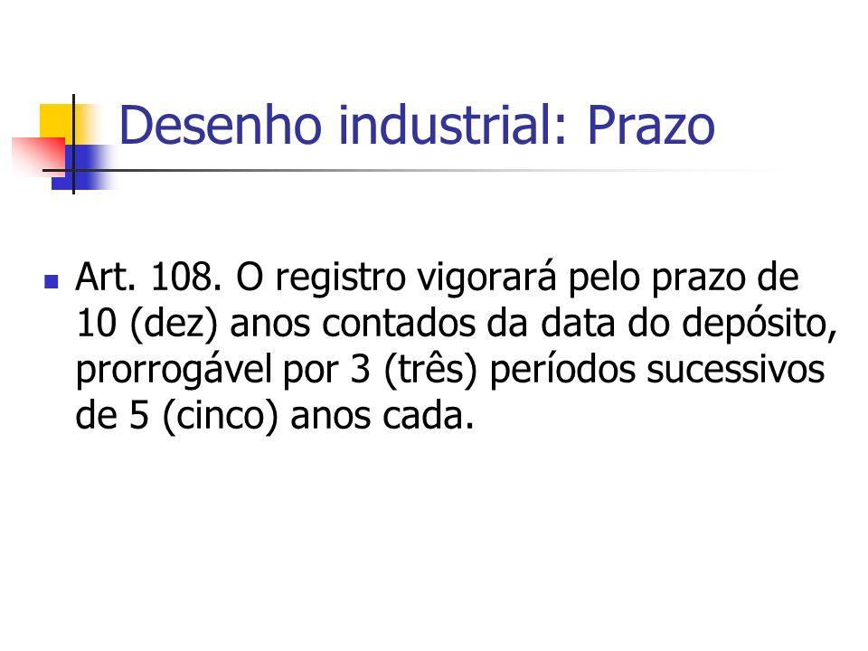 Desenho industrial: Prazo Art. 108. O registro vigorará pelo prazo de 10 (dez) anos contados da data do depósito, prorrogável por 3 (três) períodos su
