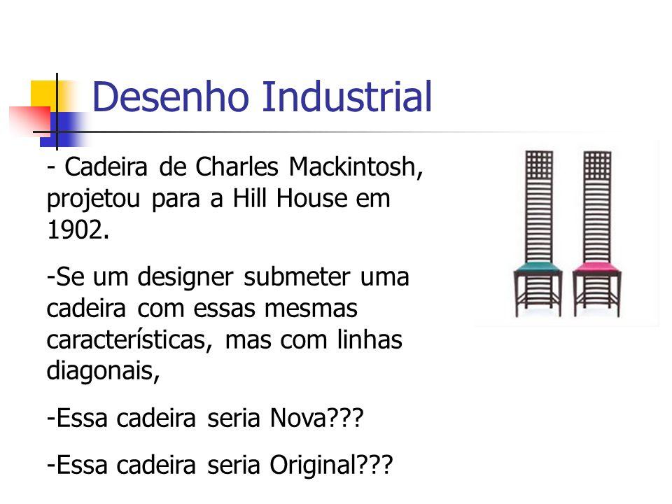 Desenho Industrial - Cadeira de Charles Mackintosh, projetou para a Hill House em 1902. -Se um designer submeter uma cadeira com essas mesmas caracter
