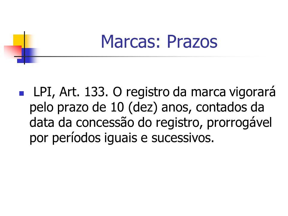 Marcas: Prazos LPI, Art. 133. O registro da marca vigorará pelo prazo de 10 (dez) anos, contados da data da concessão do registro, prorrogável por per