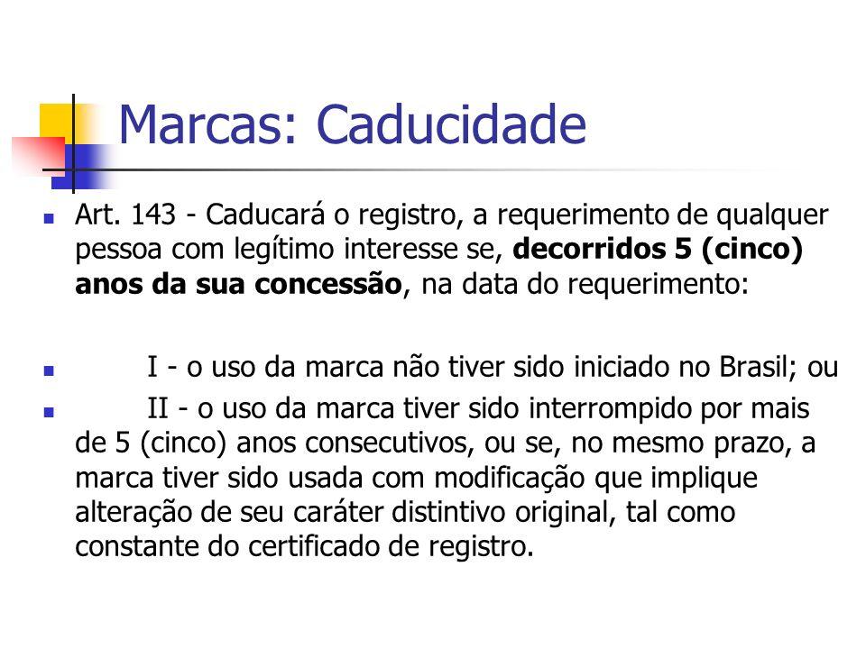 Marcas: Caducidade Art. 143 - Caducará o registro, a requerimento de qualquer pessoa com legítimo interesse se, decorridos 5 (cinco) anos da sua conce