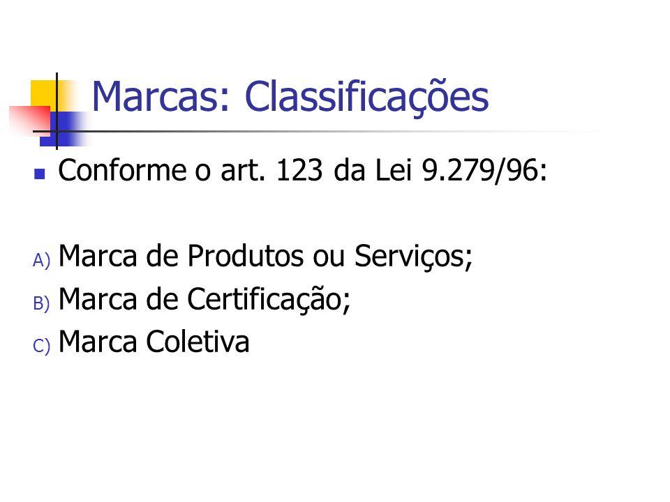 Marcas: Classificações Conforme o art. 123 da Lei 9.279/96: A) Marca de Produtos ou Serviços; B) Marca de Certificação; C) Marca Coletiva