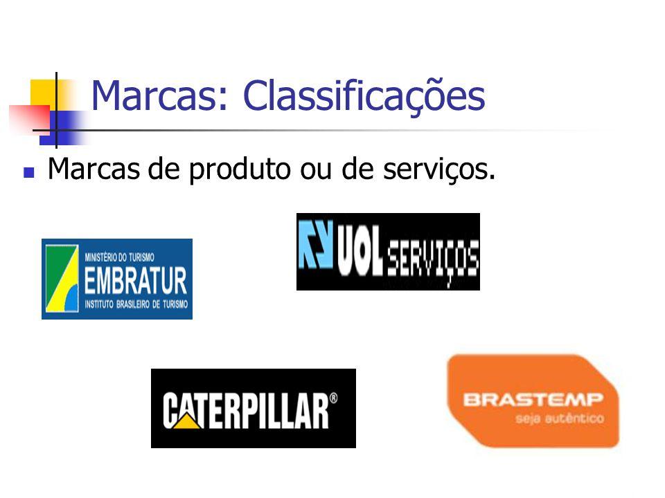 Marcas: Classificações Marcas de produto ou de serviços.