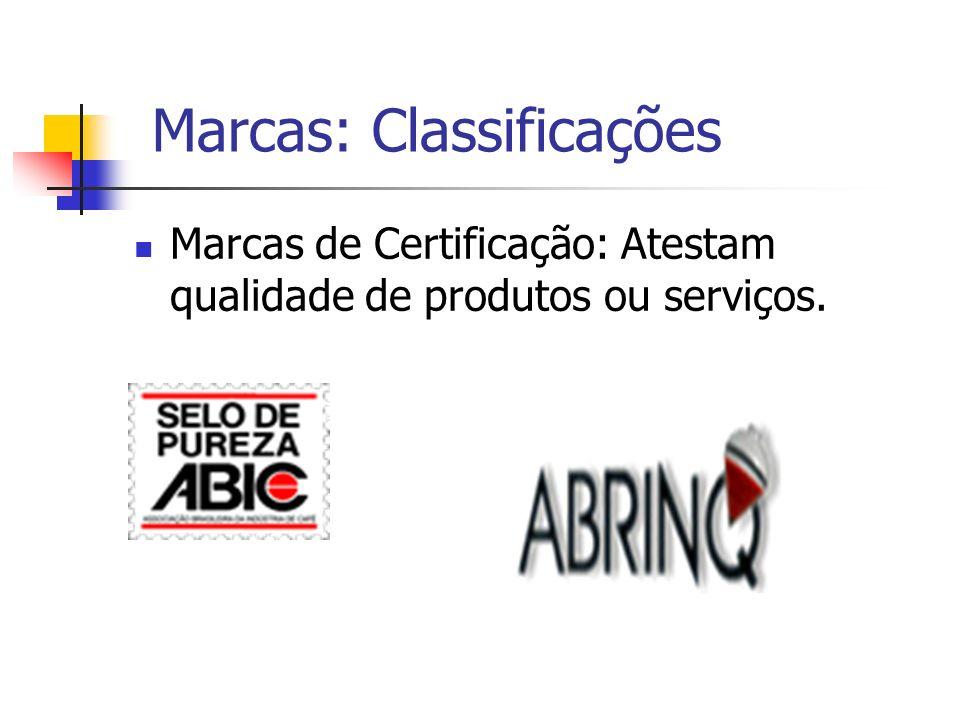 Marcas: Classificações Marcas de Certificação: Atestam qualidade de produtos ou serviços.