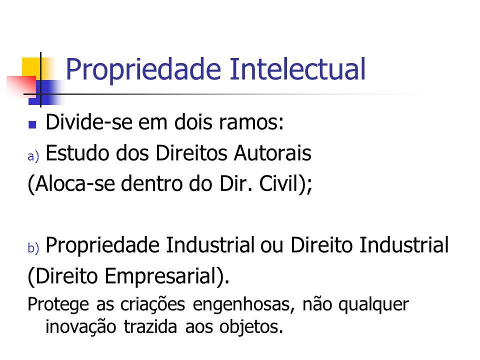 Propriedade Intelectual Divide-se em dois ramos: a) Estudo dos Direitos Autorais (Aloca-se dentro do Dir. Civil); b) Propriedade Industrial ou Direito