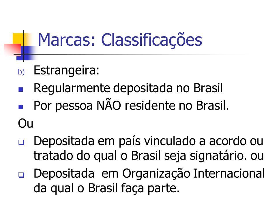 Marcas: Classificações b) Estrangeira: Regularmente depositada no Brasil Por pessoa NÃO residente no Brasil. Ou Depositada em país vinculado a acordo