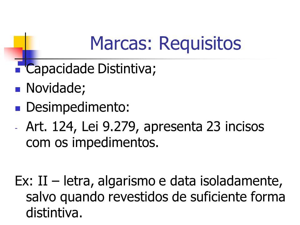 Marcas: Requisitos Capacidade Distintiva; Novidade; Desimpedimento: - Art. 124, Lei 9.279, apresenta 23 incisos com os impedimentos. Ex: II – letra, a