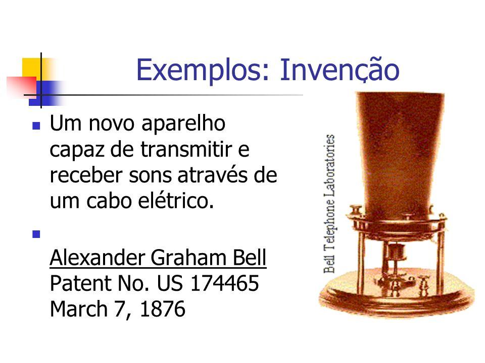 Exemplos: Invenção Um novo aparelho capaz de transmitir e receber sons através de um cabo elétrico. Alexander Graham Bell Patent No. US 174465 March 7