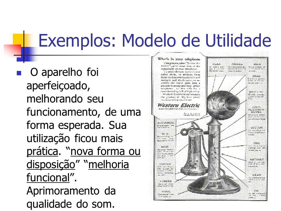 Exemplos: Modelo de Utilidade O aparelho foi aperfeiçoado, melhorando seu funcionamento, de uma forma esperada. Sua utilização ficou mais prática. nov