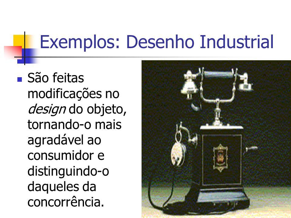 Exemplos: Desenho Industrial São feitas modificações no design do objeto, tornando-o mais agradável ao consumidor e distinguindo-o daqueles da concorr