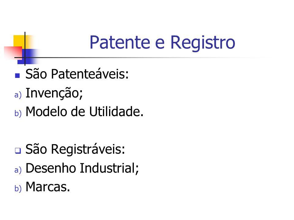 Patente e Registro São Patenteáveis: a) Invenção; b) Modelo de Utilidade. São Registráveis: a) Desenho Industrial; b) Marcas.