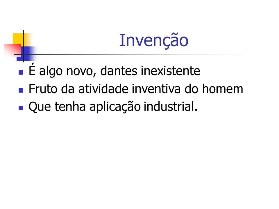 Invenção É algo novo, dantes inexistente Fruto da atividade inventiva do homem Que tenha aplicação industrial.