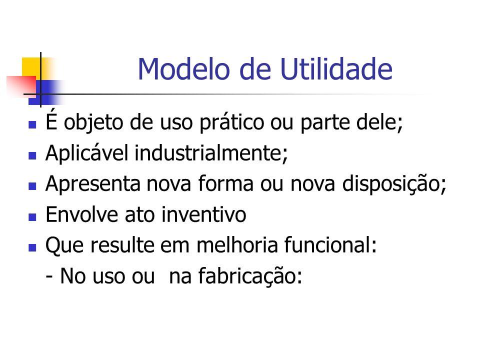 Modelo de Utilidade É objeto de uso prático ou parte dele; Aplicável industrialmente; Apresenta nova forma ou nova disposição; Envolve ato inventivo Q