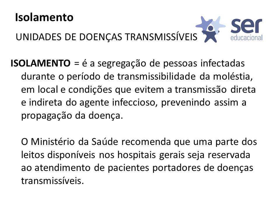 Isolamento UNIDADES DE DOENÇAS TRANSMISSÍVEIS ISOLAMENTO = é a segregação de pessoas infectadas durante o período de transmissibilidade da moléstia, e