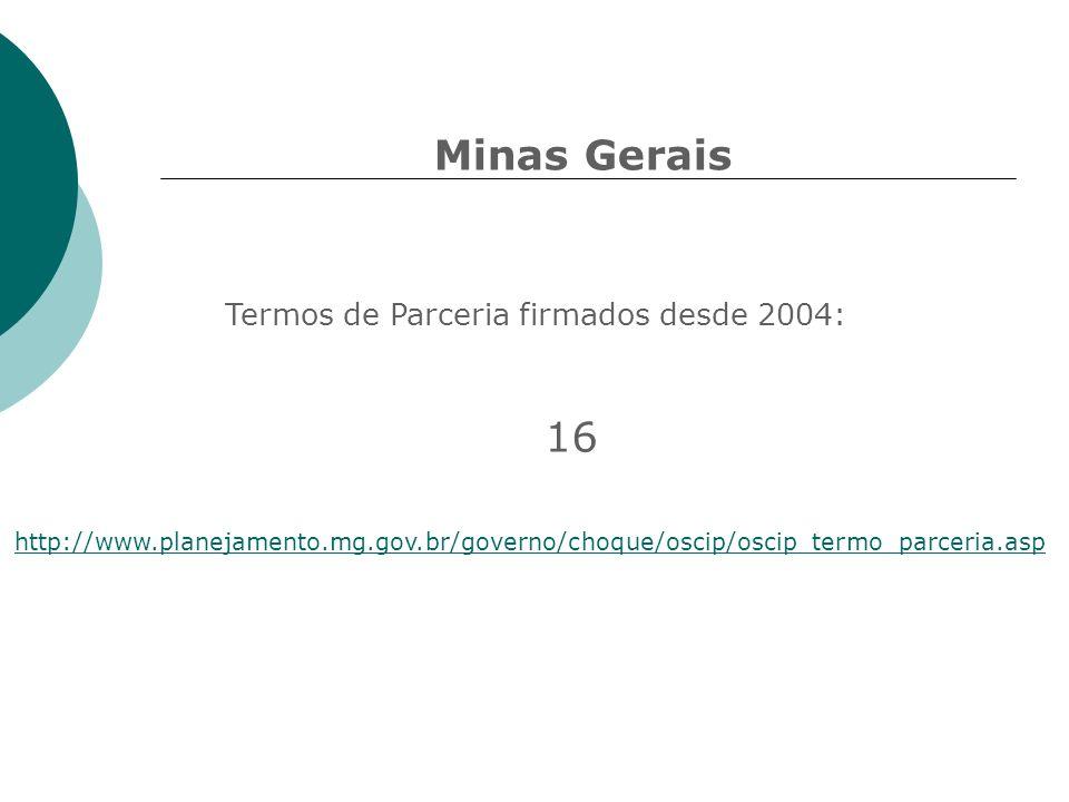 Minas Gerais http://www.planejamento.mg.gov.br/governo/choque/oscip/oscip_termo_parceria.asp Termos de Parceria firmados desde 2004: 16