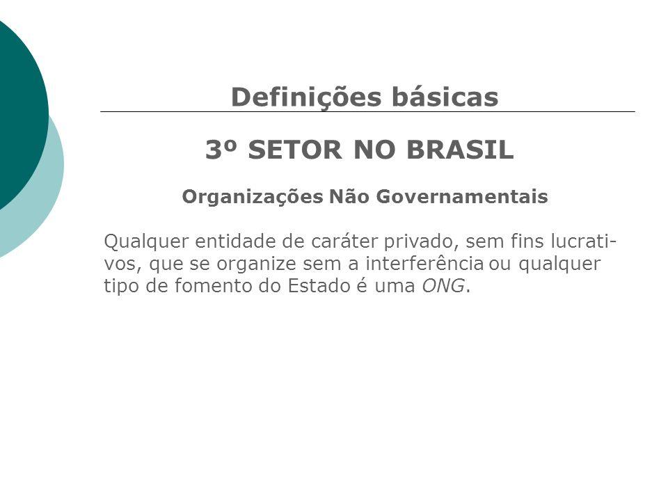 Definições básicas 3º SETOR NO BRASIL Organizações Não Governamentais Qualquer entidade de caráter privado, sem fins lucrati- vos, que se organize sem