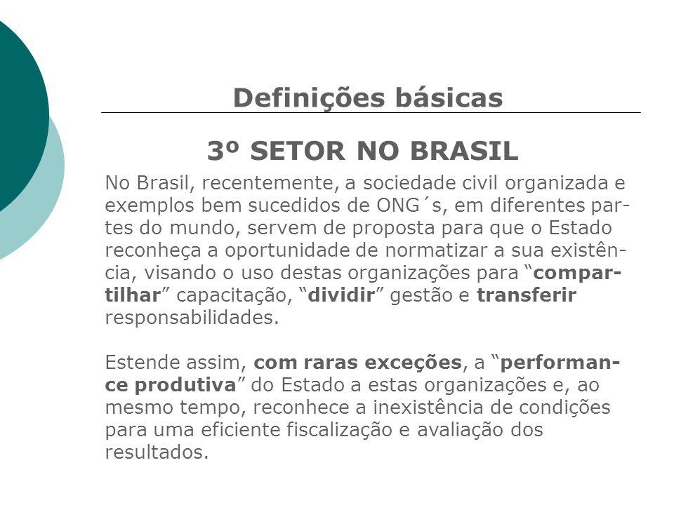 Definições básicas 3º SETOR NO BRASIL No Brasil, recentemente, a sociedade civil organizada e exemplos bem sucedidos de ONG´s, em diferentes par- tes